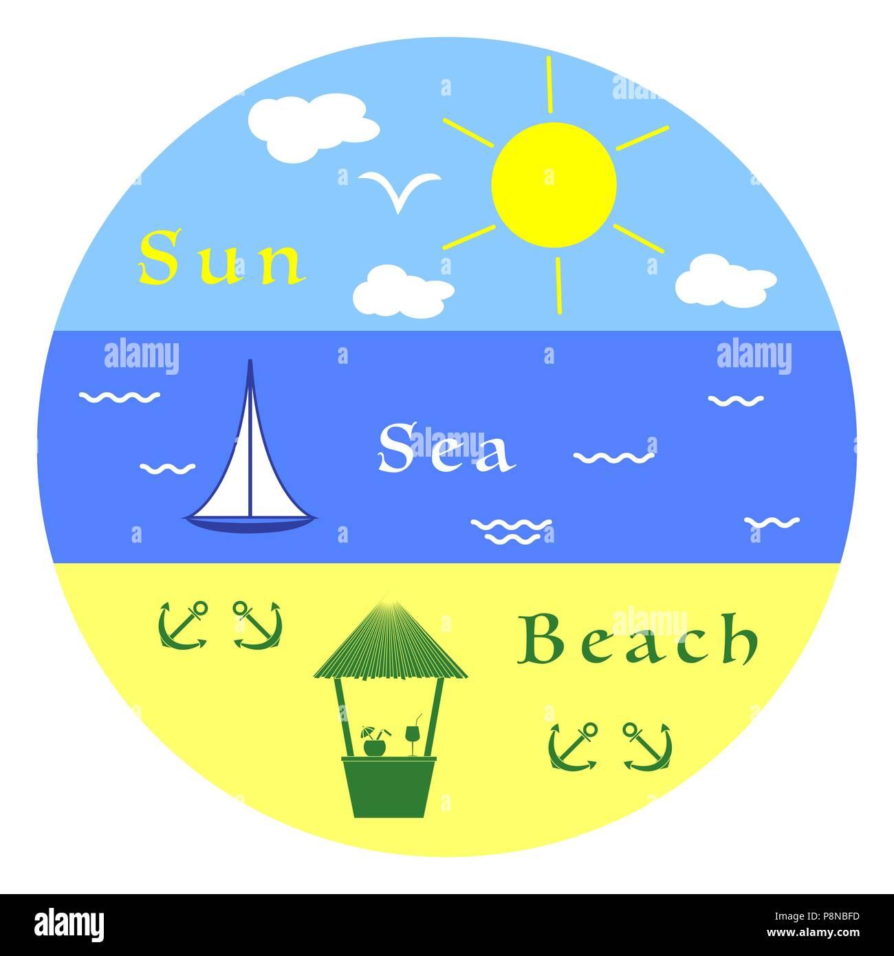 Sun, clouds, bird, sea, waves, yacht, beach, anchors, bar. Summer leisure. - Stock Image
