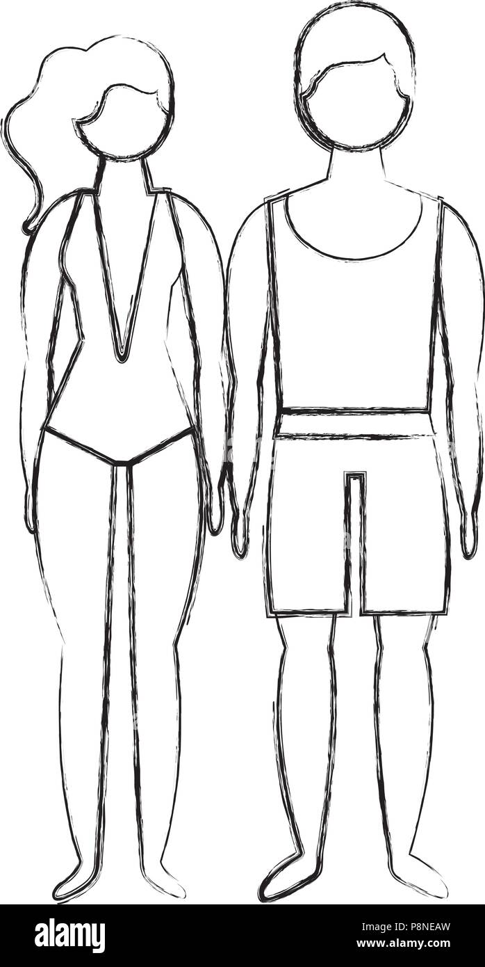 man and woman character in swimsuit summer vector illustration - Stock Image