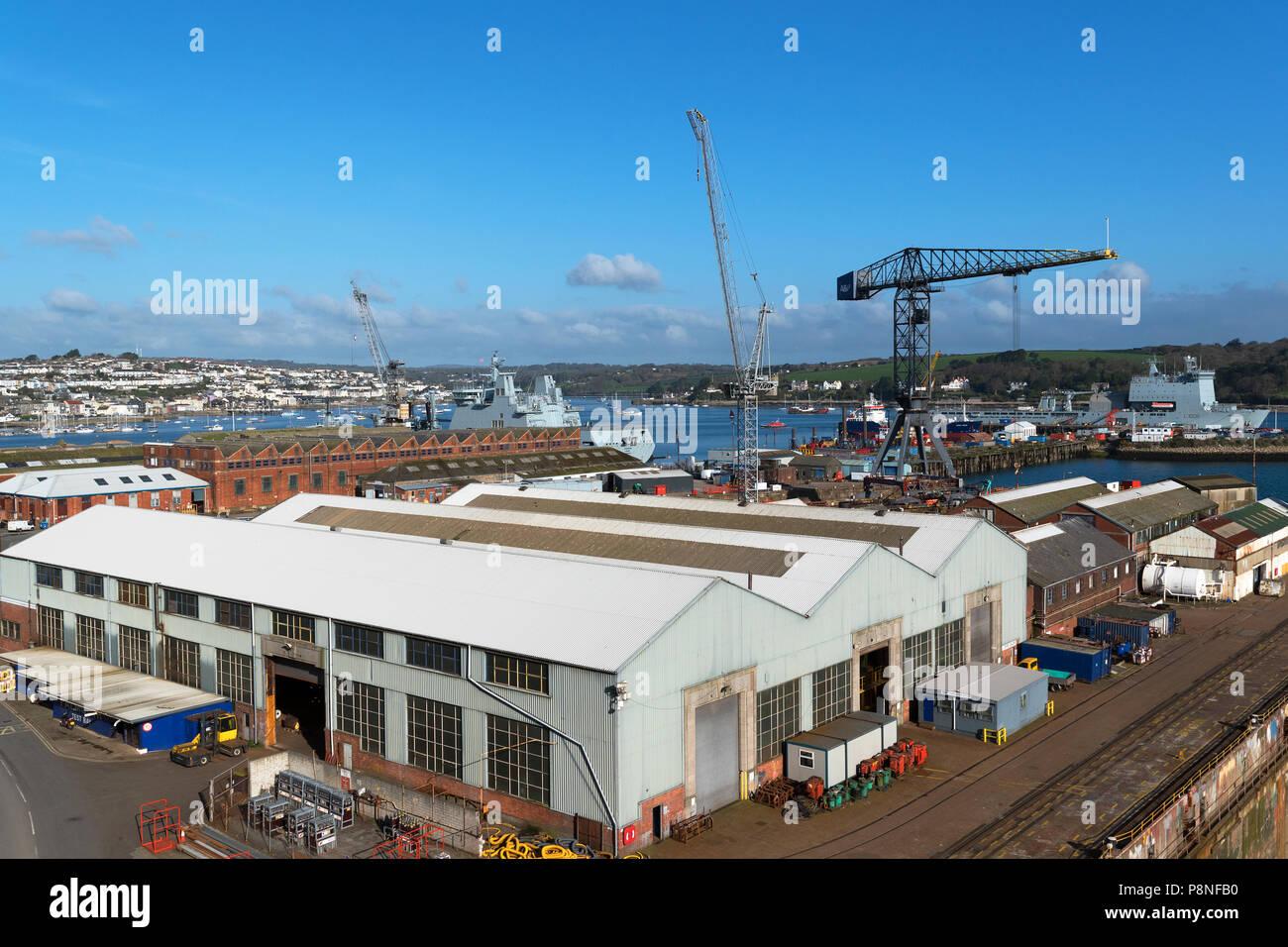 pendennis shipyard docks in falmouth, cornwall, england, britain, uk. - Stock Image
