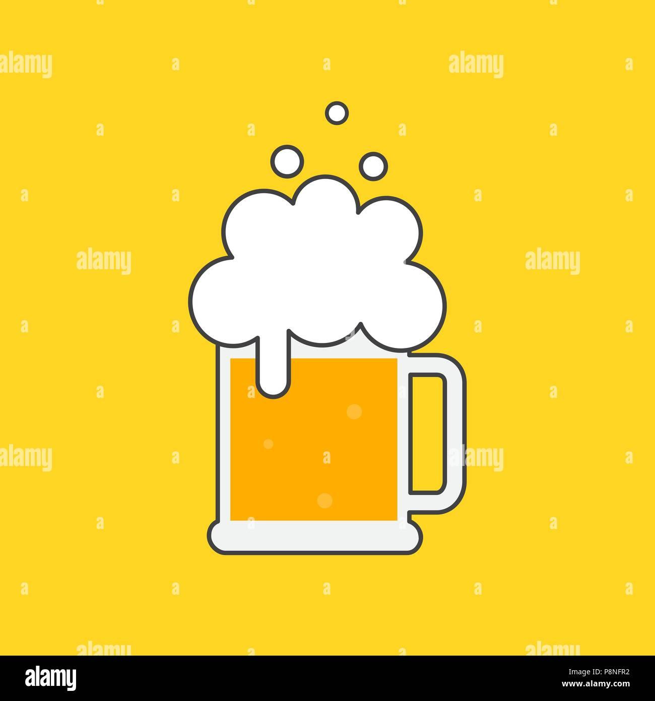 Beer Mug With Foam Symbol Template Logo Vector Illustration Flat Design Isolated Stock Vector Image Art Alamy