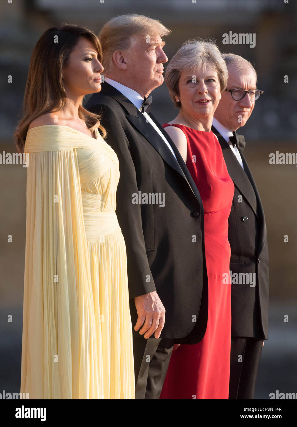 Us President Donald Trump And His Wife Melania Are Welcomed By Prime Minister Theresa May And Her Husband Philip May At Blenheim Palace Oxfordshire Where Mrs May Will Host A Dinner As