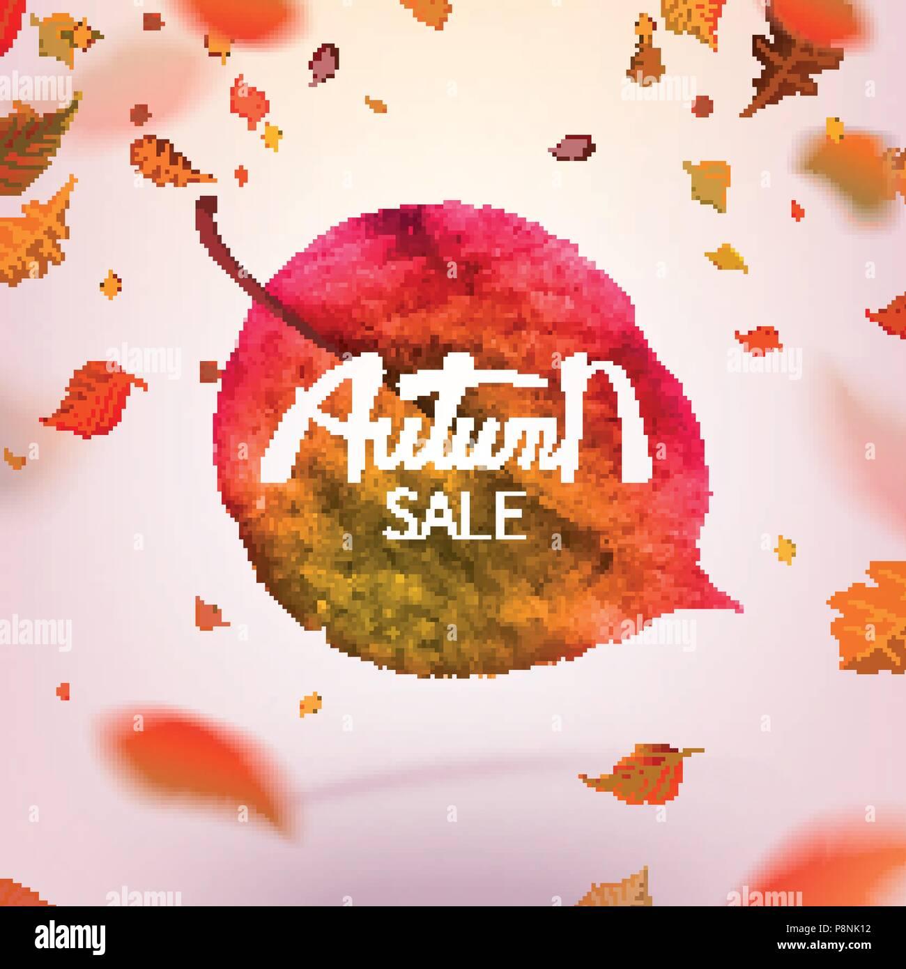 stock vector illustration sale autumn falling leaves autumnal