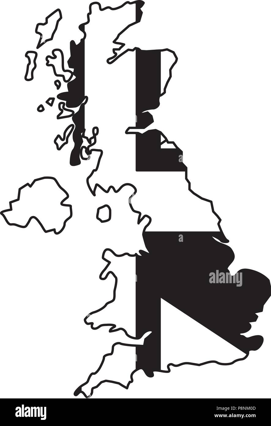 untied kingdom flag in map country vector illustration black and white - Stock Vector