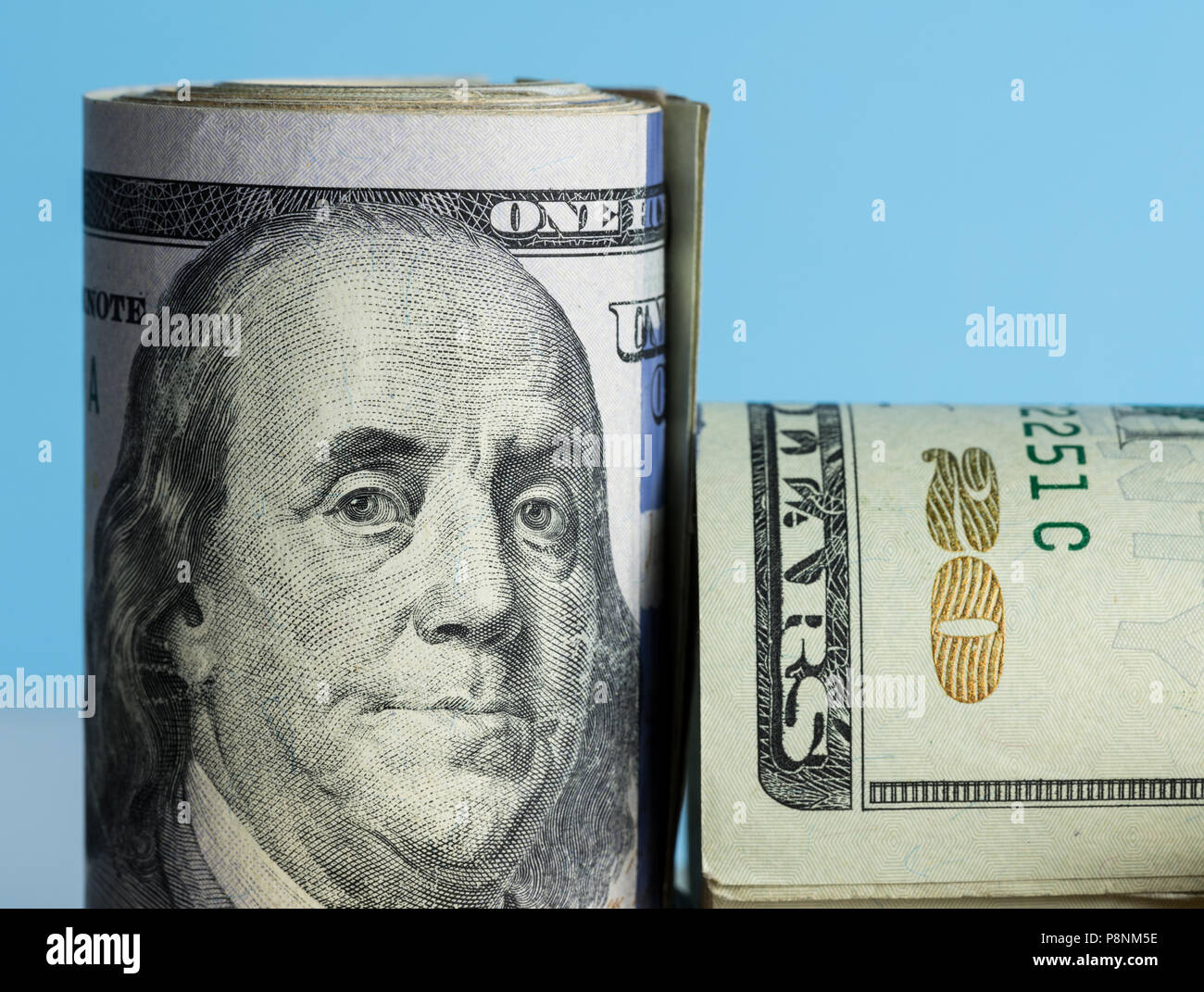 Close macro of Benjamin Franklin on US 100 dollar note - Stock Image