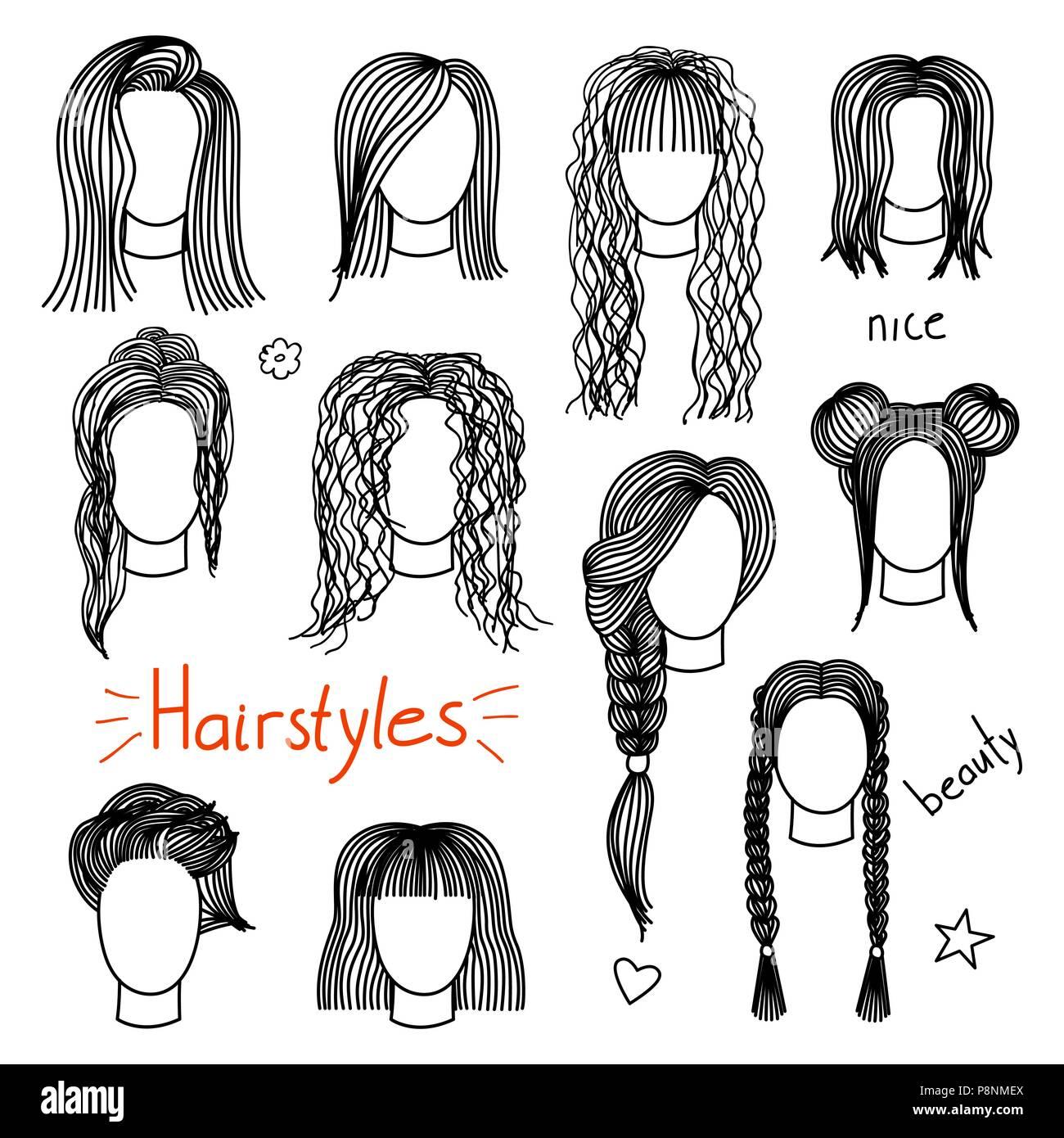 Set Of Hand Drawn Womens Hairstyles Stock Vector Art