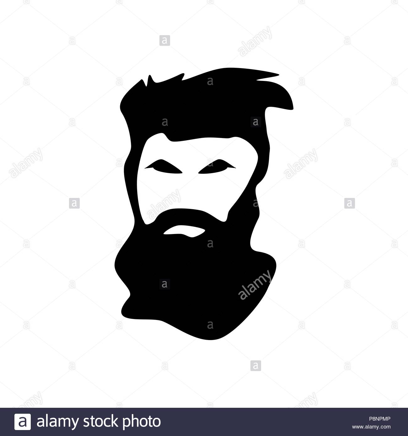 Bearded man black silhouette - Stock Image