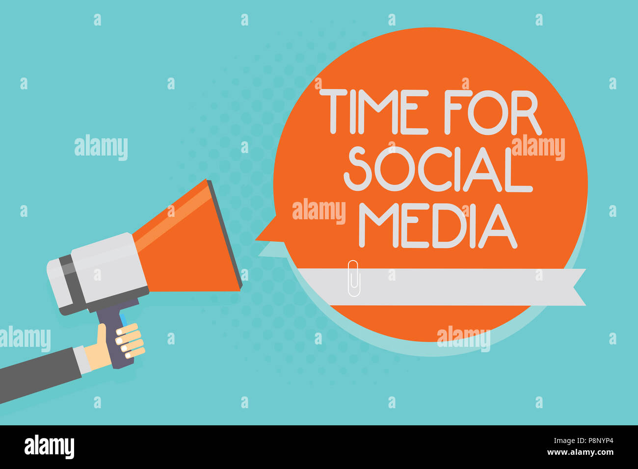 Writing note showing Time For Social Media. Business photo showcasing meeting new friends discussing topics news and movies Attention warning hot soci - Stock Image