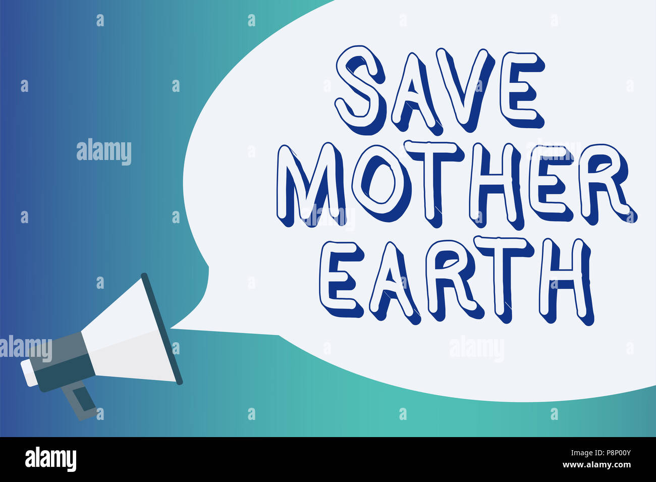 Writing note showing Save Mother Earth. Business photo showcasing doing small actions prevent wasting water heat energy Announcement signalling indica - Stock Image
