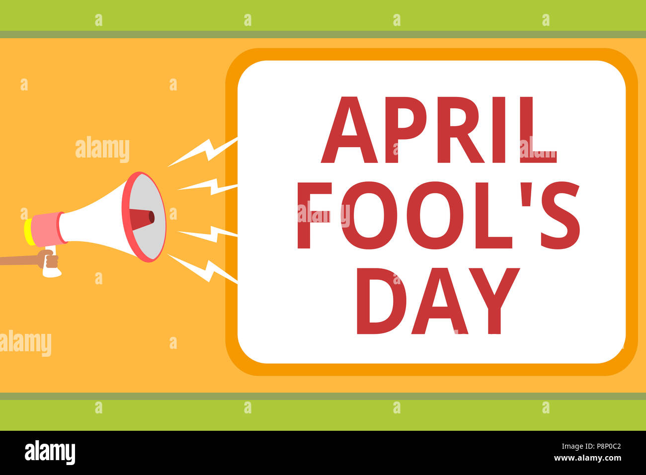 Writing note showing April Fool s is Day. Business photo showcasing Practical jokes humor pranks Celebration funny foolish Message idea invention boxe - Stock Image