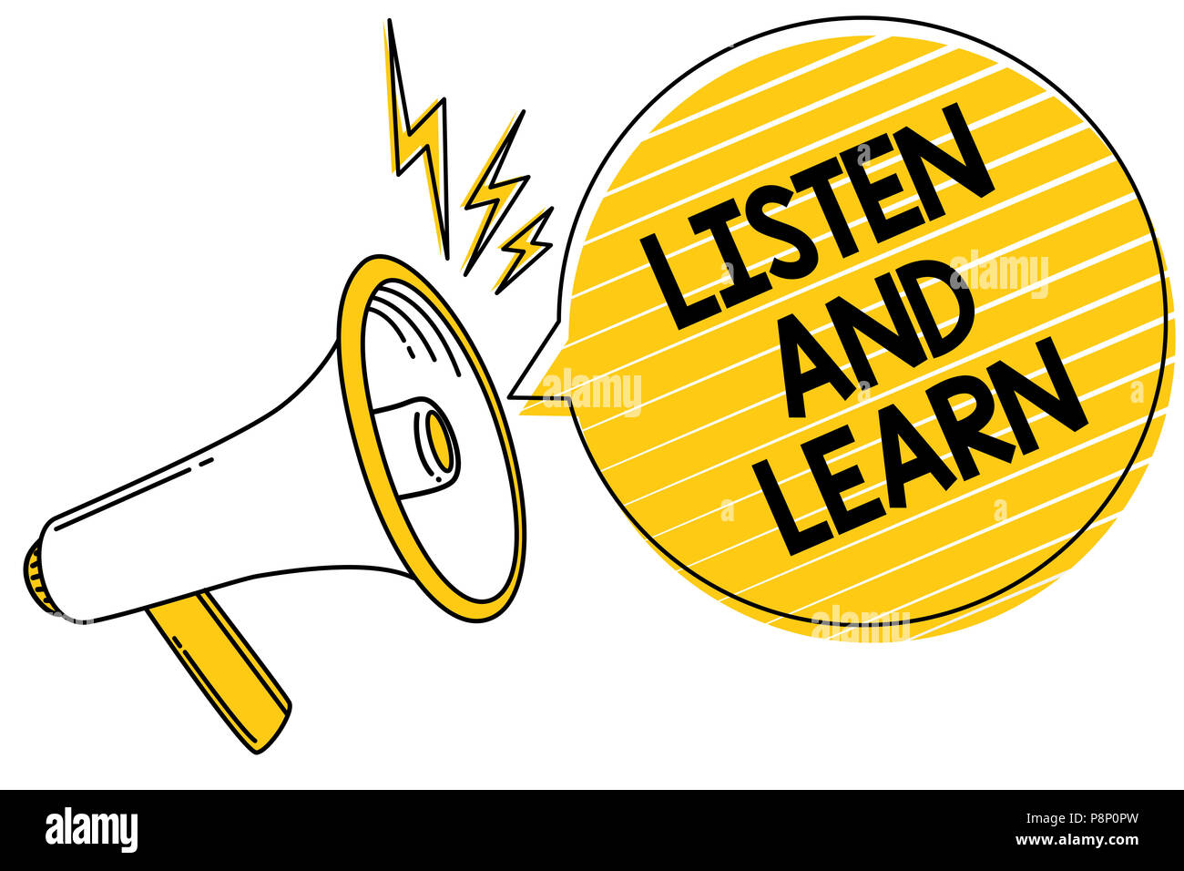 Handwriting Text Listen And Learn Concept Meaning Pay Attention To