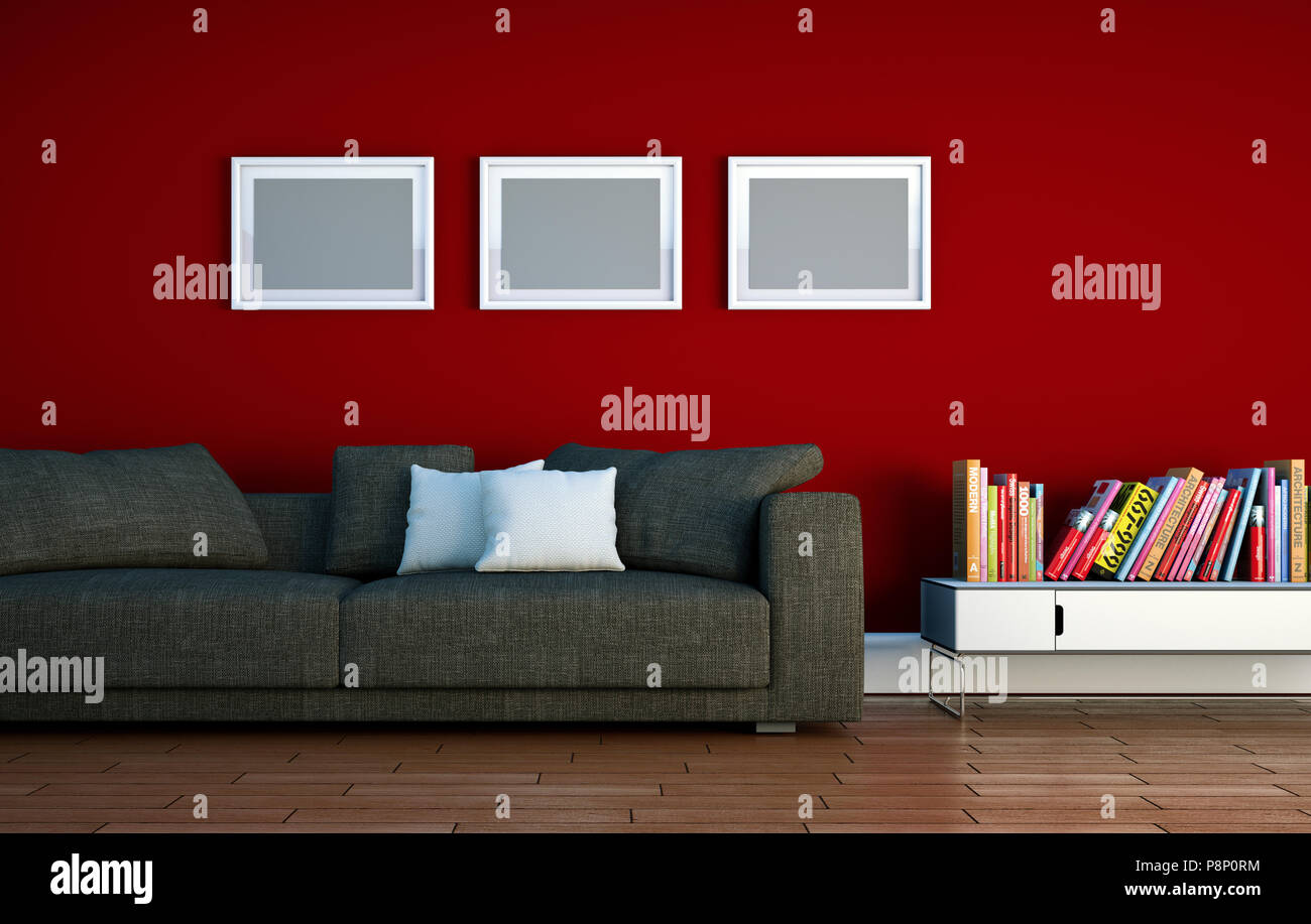Bright Room With Grey Sofa In Front Of A Red Wall Stock Photo Alamy