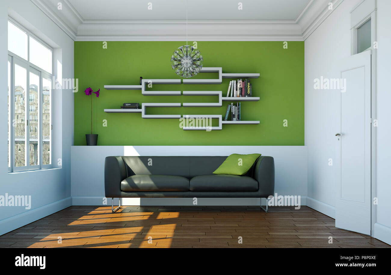 Bright Room With Grey Sofa In Front Or Green Wall Stock Photo