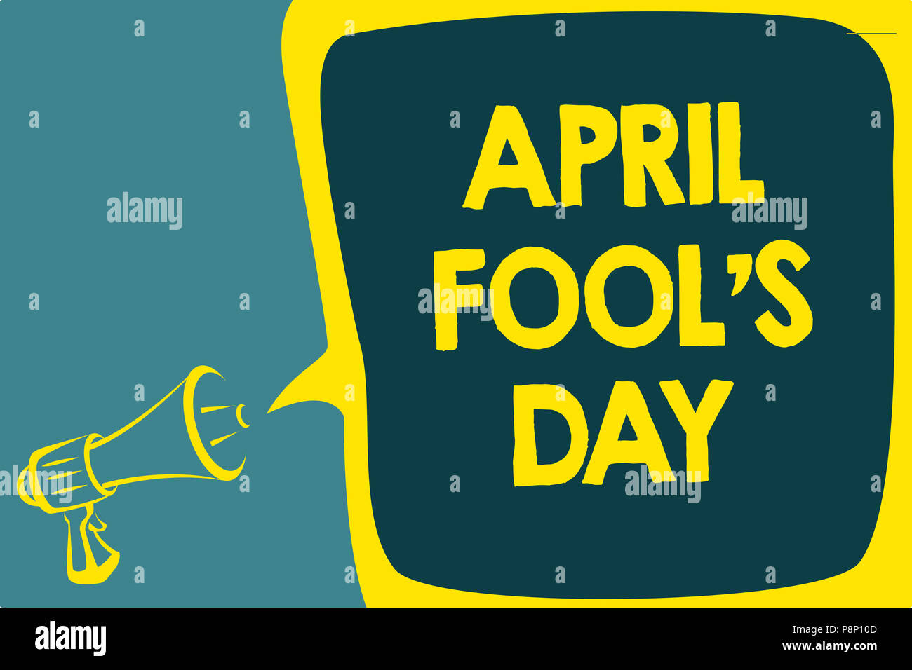 Conceptual hand writing showing April Fool s is Day. Business photo showcasing Practical jokes humor pranks Celebration funny foolish Script artwork s - Stock Image