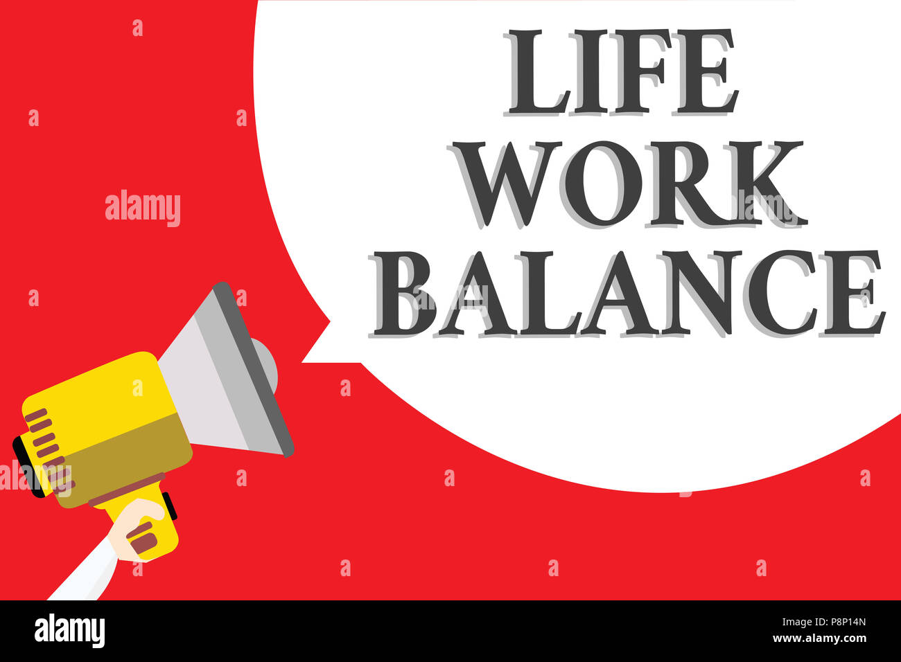 Word writing text Life Work Balance. Business concept for stability person needs between his job and personal time Announcement speaker script convey  - Stock Image