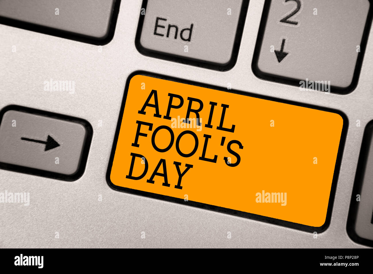 Handwriting text writing April Fool s is Day. Concept meaning Practical jokes humor pranks Celebration funny foolish Typing work computer job program  - Stock Image