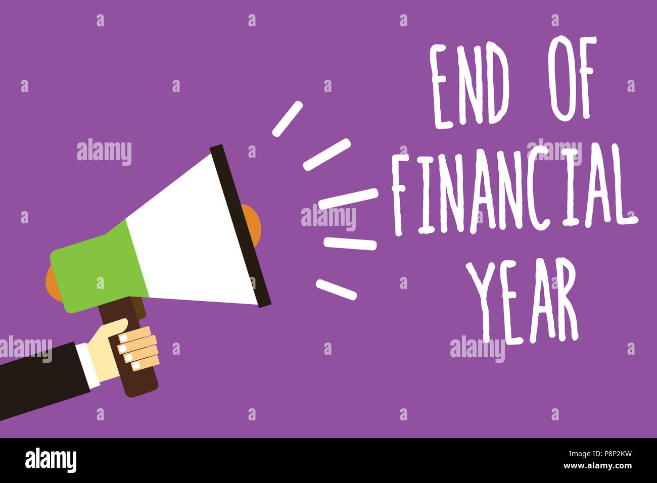 Word writing text End Of Financial Year. Business concept for Revise and edit accounting sheets from previous year Sound speaker alarm hand hot issue  - Stock Image