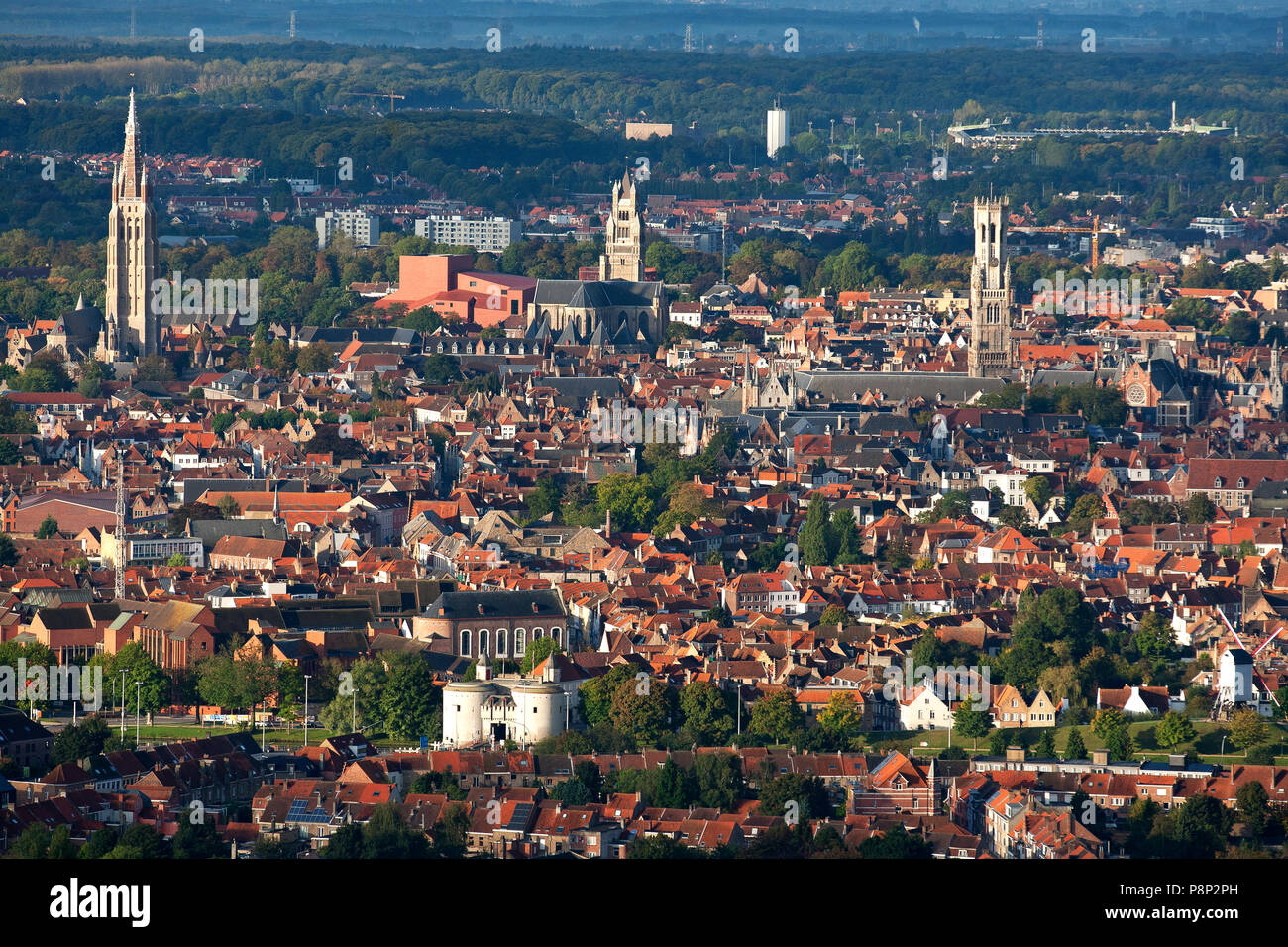 Aerial of the city of Bruges, Belgium - Stock Image