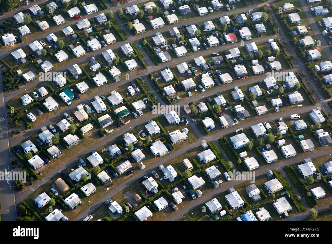 Aerial of a campground - Stock Image