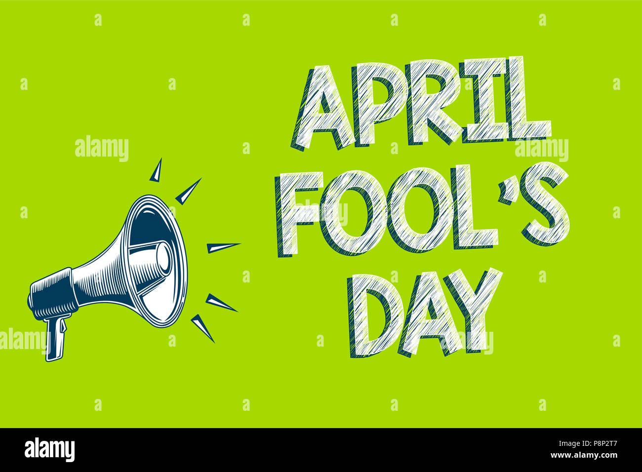 Writing note showing April Fool s is Day. Business photo showcasing Practical jokes humor pranks Celebration funny foolish Artwork convey message spea - Stock Image