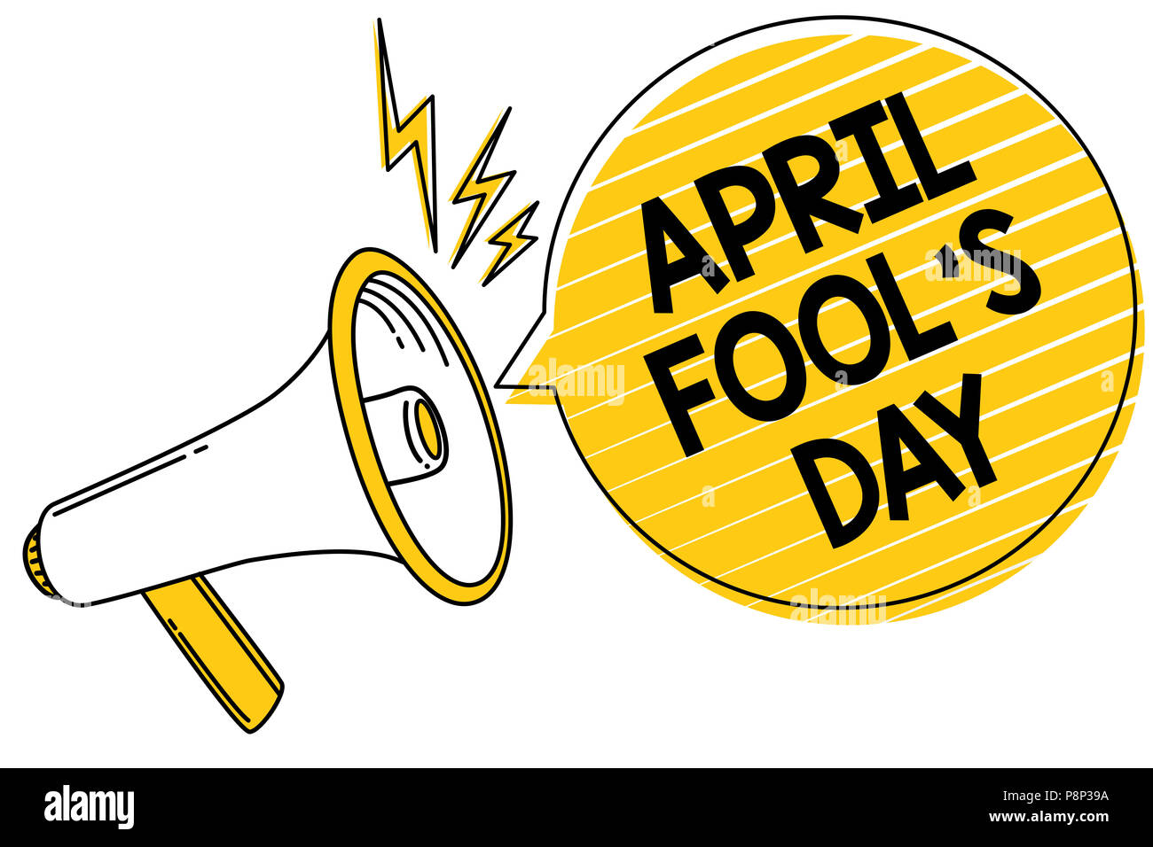 Handwriting text April Fool s is Day. Concept meaning Practical jokes humor pranks Celebration funny foolish Convey message text lines ideas loud spea - Stock Image