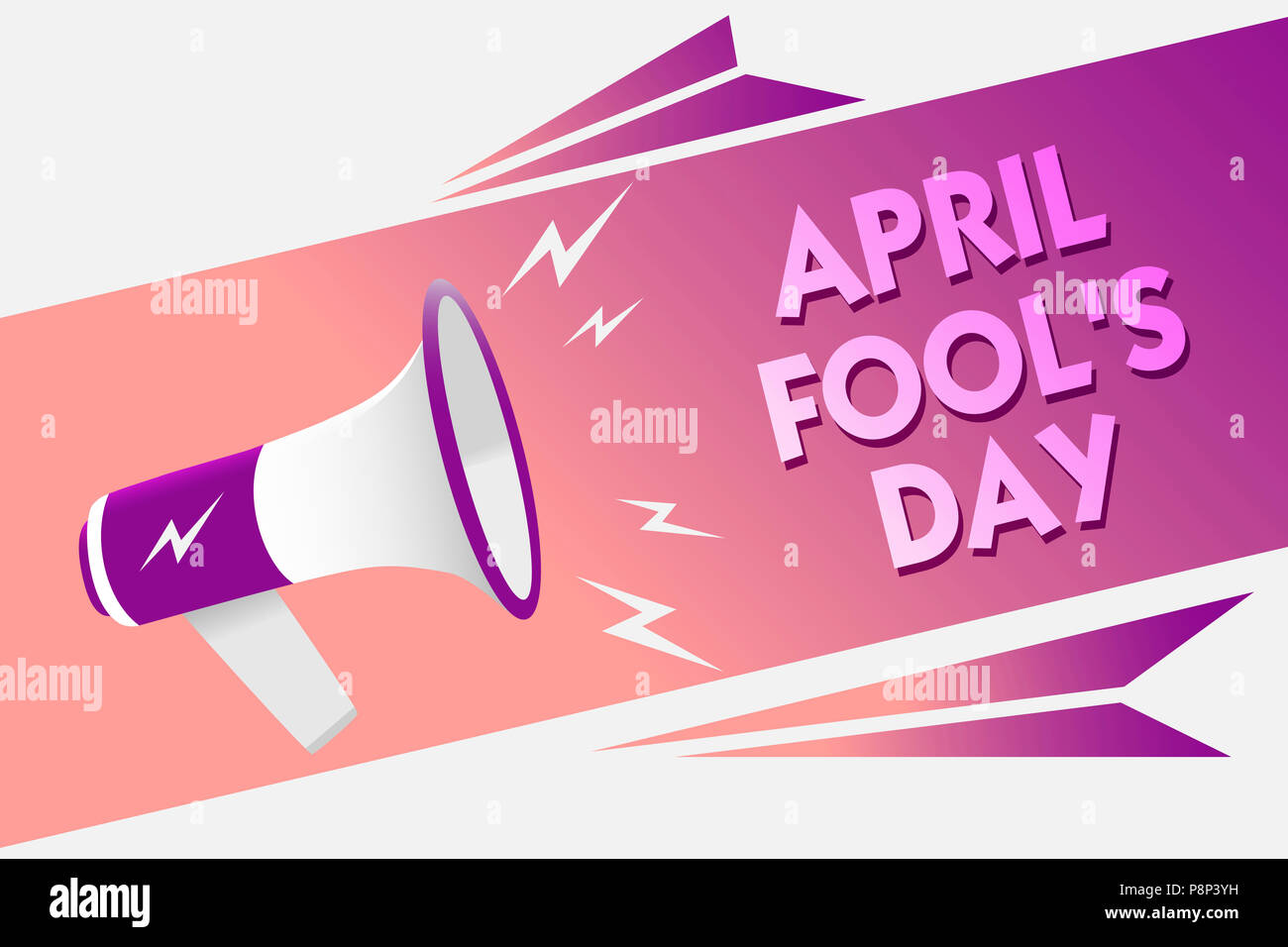 Writing note showing April Fool s is Day. Business photo showcasing Practical jokes humor pranks Celebration funny foolish Sound speaker convey messag - Stock Image