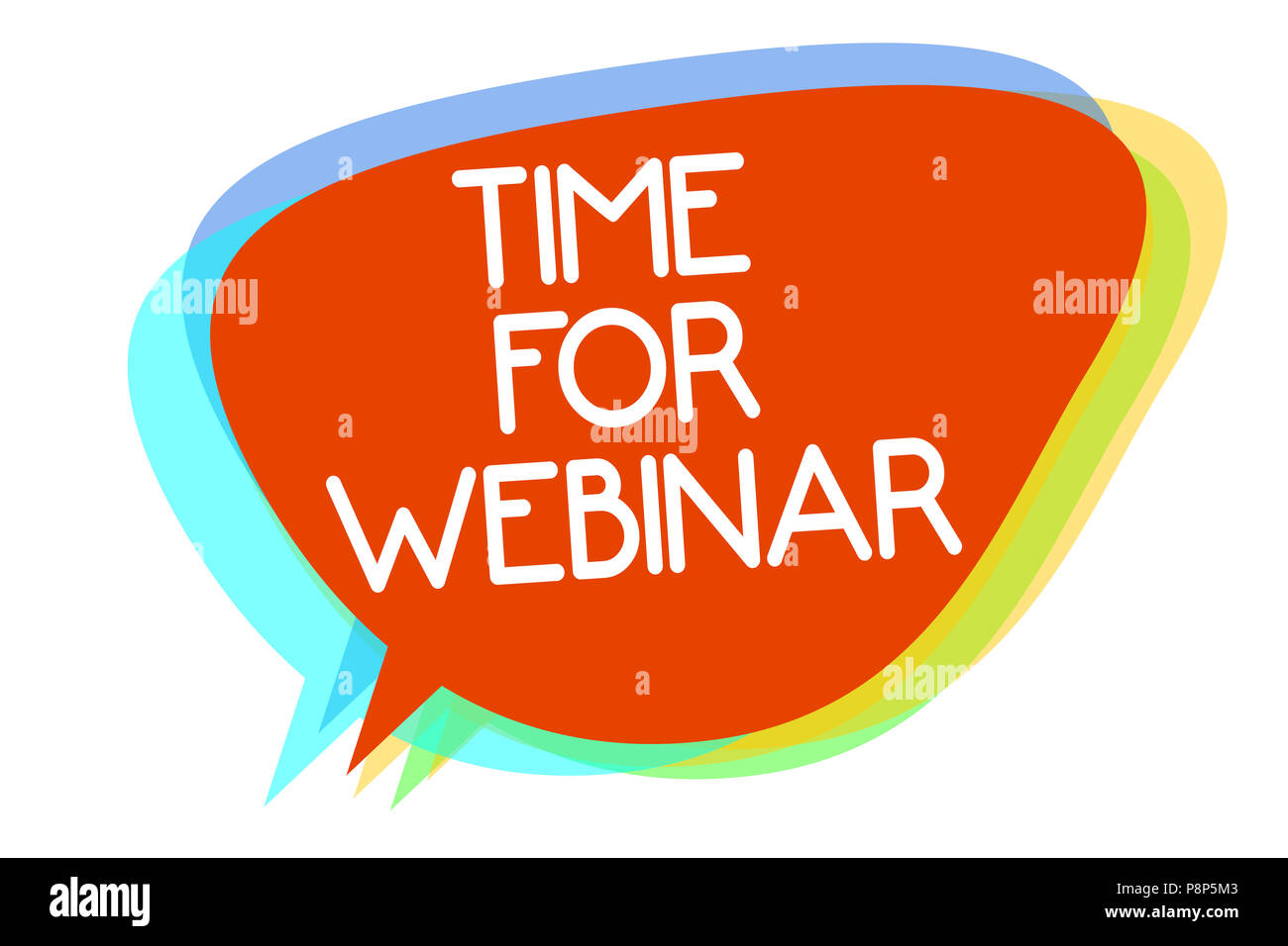 Conceptual hand writing showing Time For Webinar. Business photo showcasing seminar conducted over the Internet Web conferencing Multiline text layer  - Stock Image