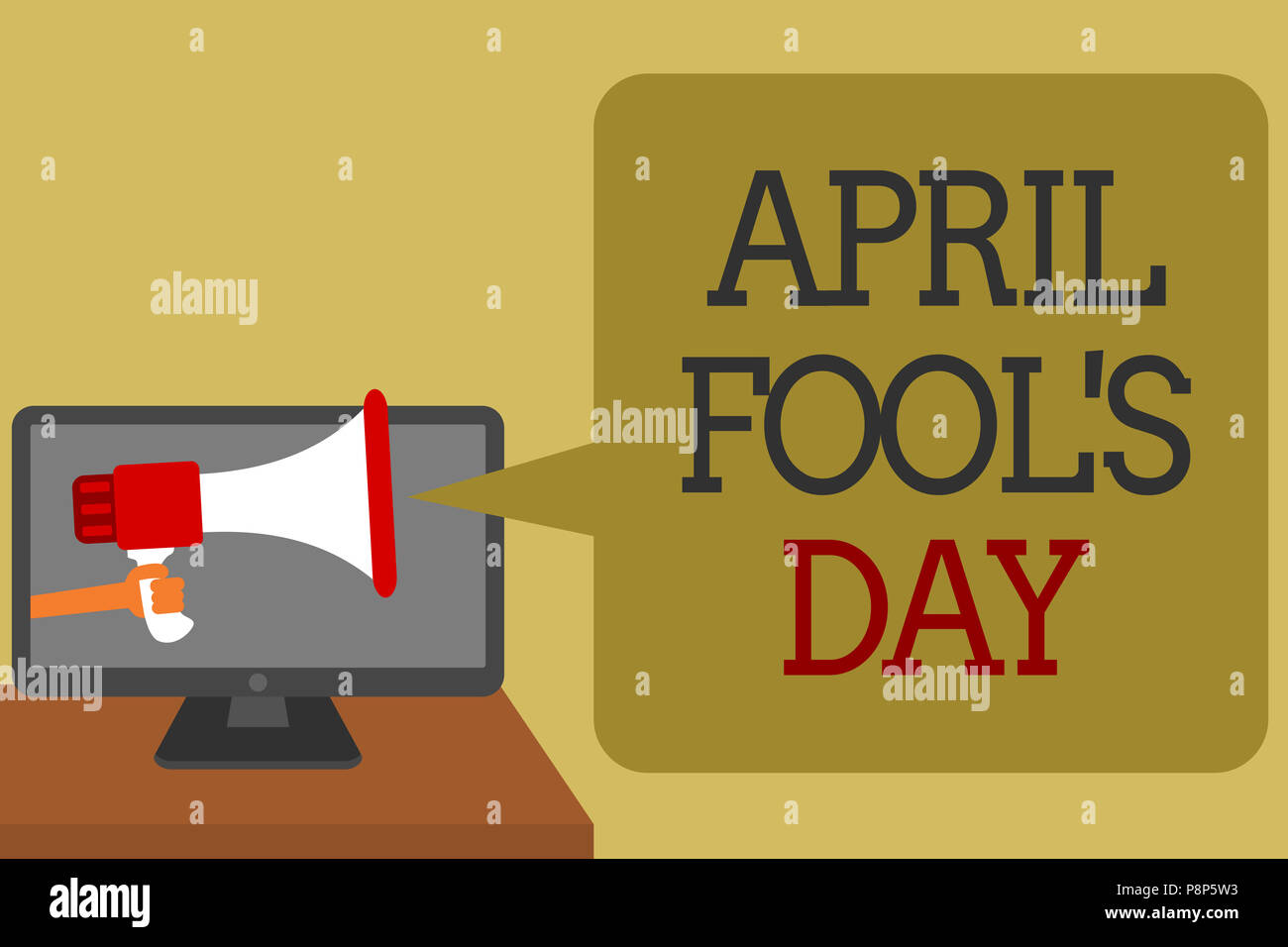 Text sign showing April Fool s is Day. Conceptual photo Practical jokes humor pranks Celebration funny foolish Social media network convey lines messa - Stock Image