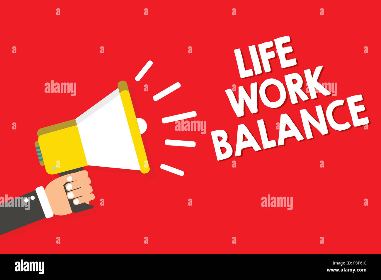 Handwriting text writing Life Work Balance. Concept meaning stability person needs between his job and personal time Warning announcement symbol alarm - Stock Image