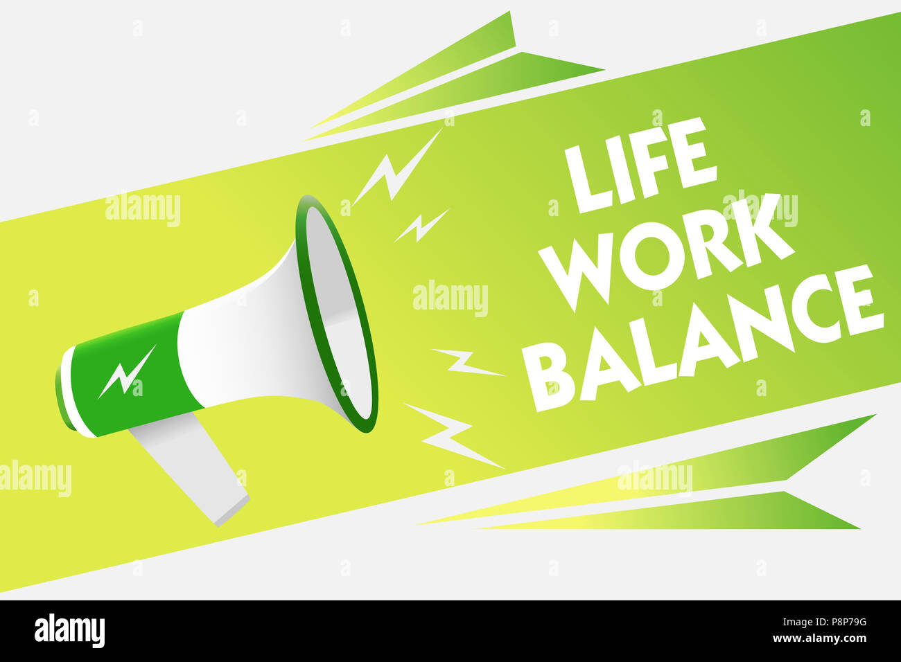 Word writing text Life Work Balance. Business concept for stability person needs between his job and personal time Message warning script announcement - Stock Image