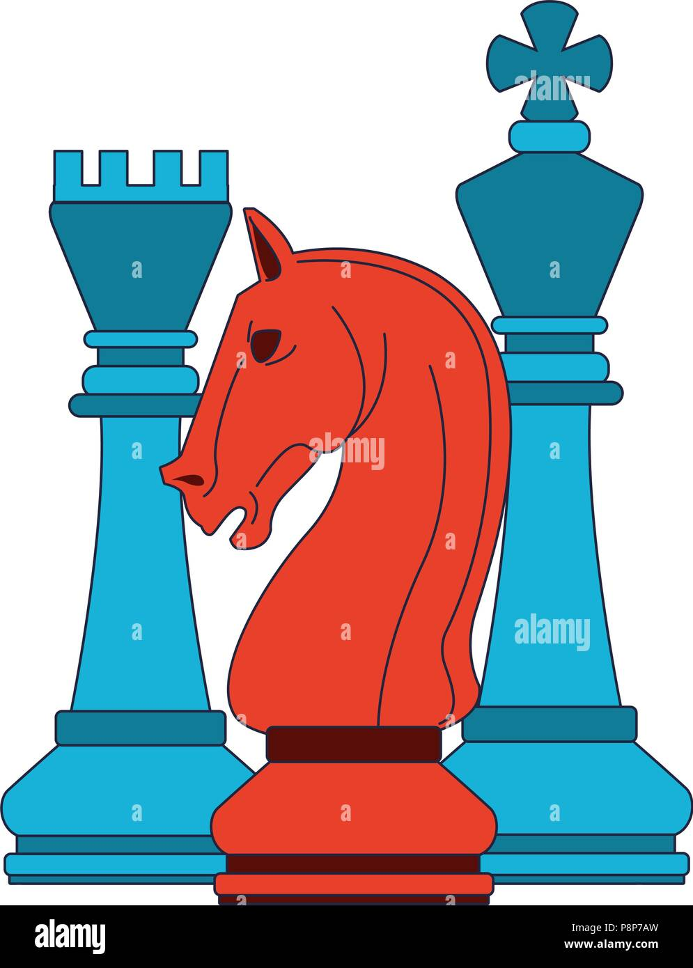 Chess Game Pieces Pop Colors Stock Vector Art Illustration Vector