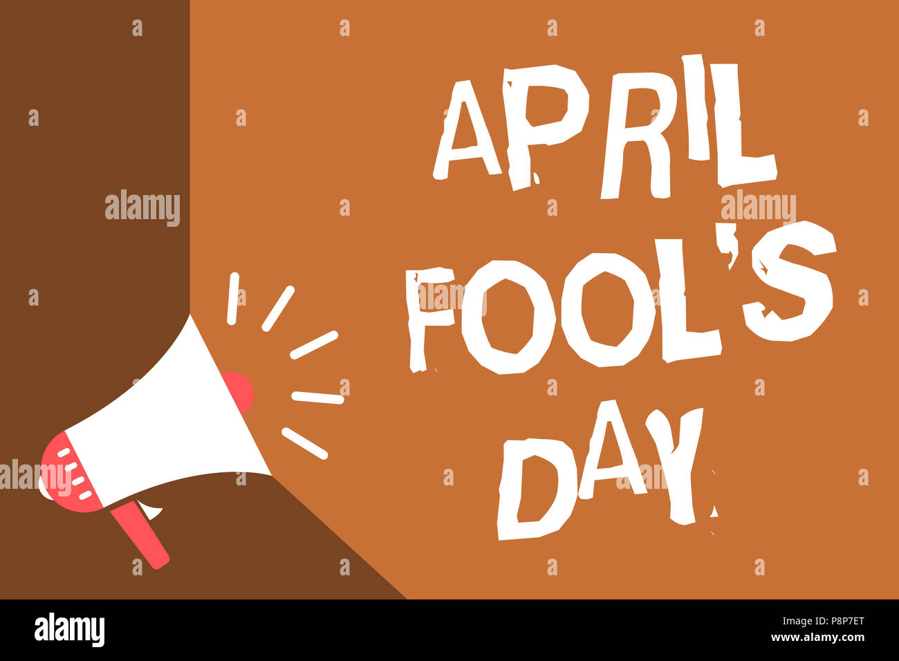 Writing note showing April Fool s is Day. Business photo showcasing Practical jokes humor pranks Celebration funny foolish News flash burning issue so - Stock Image
