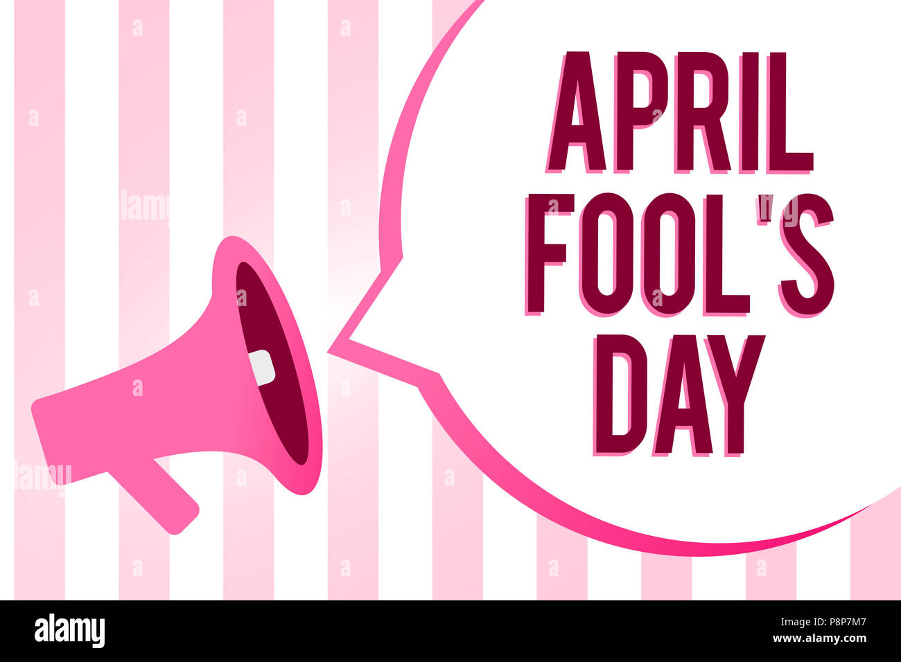 Conceptual hand writing showing April Fool s is Day. Business photo showcasing Practical jokes humor pranks Celebration funny foolish Sound speaker co - Stock Image