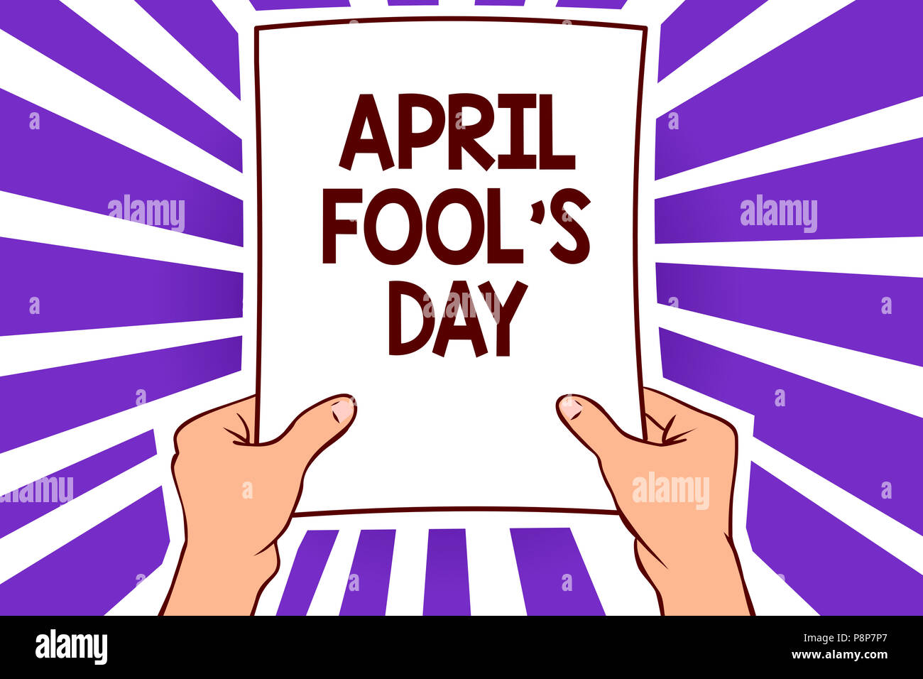 Conceptual hand writing showing April Fool s is Day. Business photo text Practical jokes humor pranks Celebration funny foolish Paper page text lines  - Stock Image