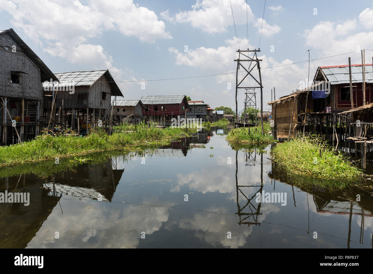Stilt houses and electricity cables, Lake Inle Stock Photo ...