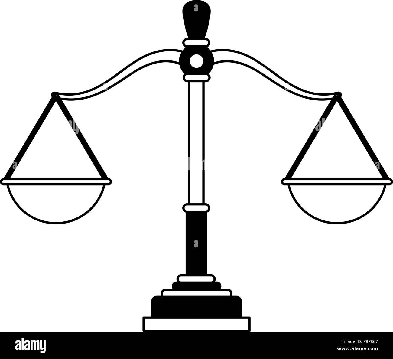 Justice balance symbol black and white - Stock Image