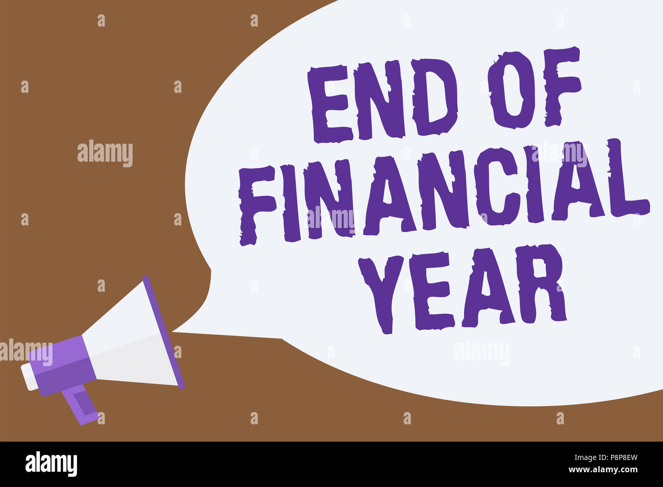 Text sign showing End Of Financial Year. Conceptual photo Revise and edit accounting sheets from previous year Hot issue announcement attention recall - Stock Image