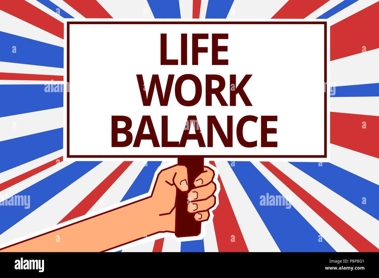 Handwriting text Life Work Balance. Concept meaning stability person needs between his job and personal time Paper text capital placards signboards an - Stock Image