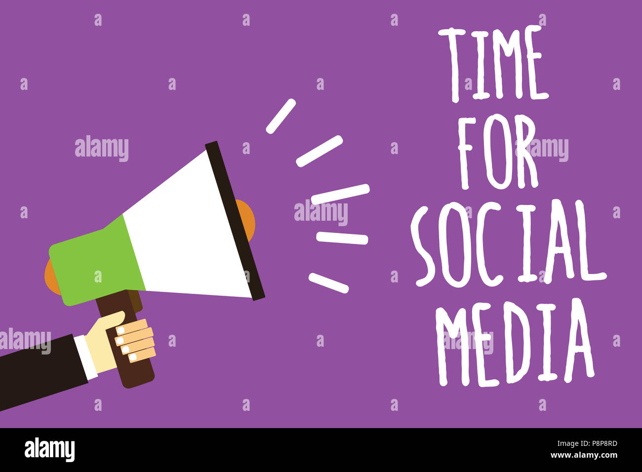 Word writing text Time For Social Media. Business concept for meeting new friends discussing topics news and movies Sound speaker alarm hand hot issue - Stock Image