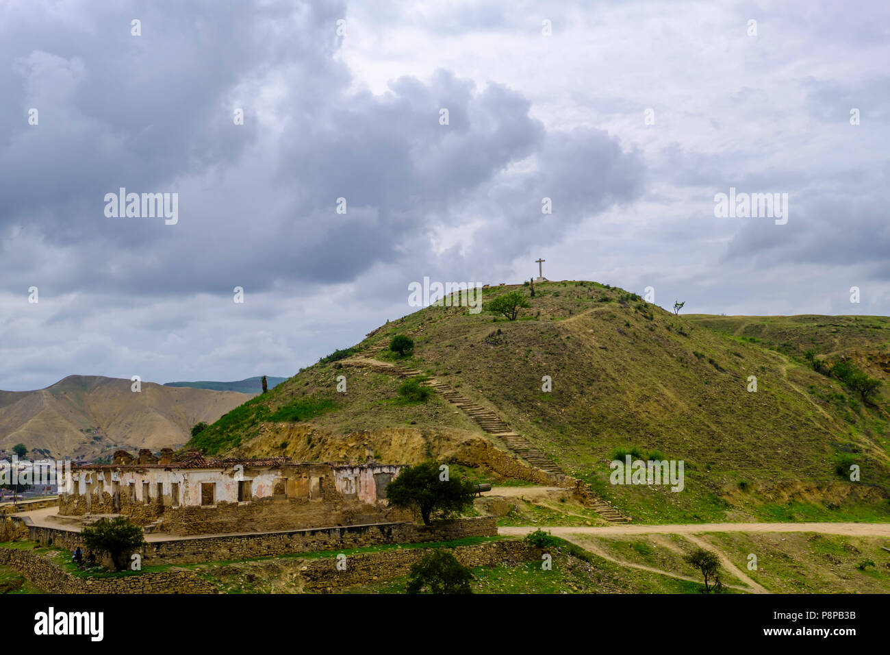 Remains of Portugese fort and cross on hillside outside city of Lobito Angola - Stock Image
