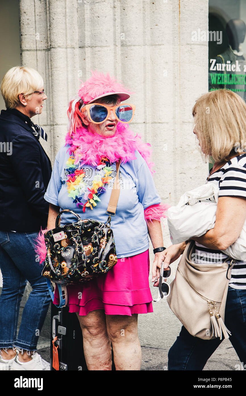 Zurich, Switzerland - August 12, 2017: People of all ages walking on one of the main streets of Zurich, Bahnhofstrasse, on the Street Parade Day. An o - Stock Image