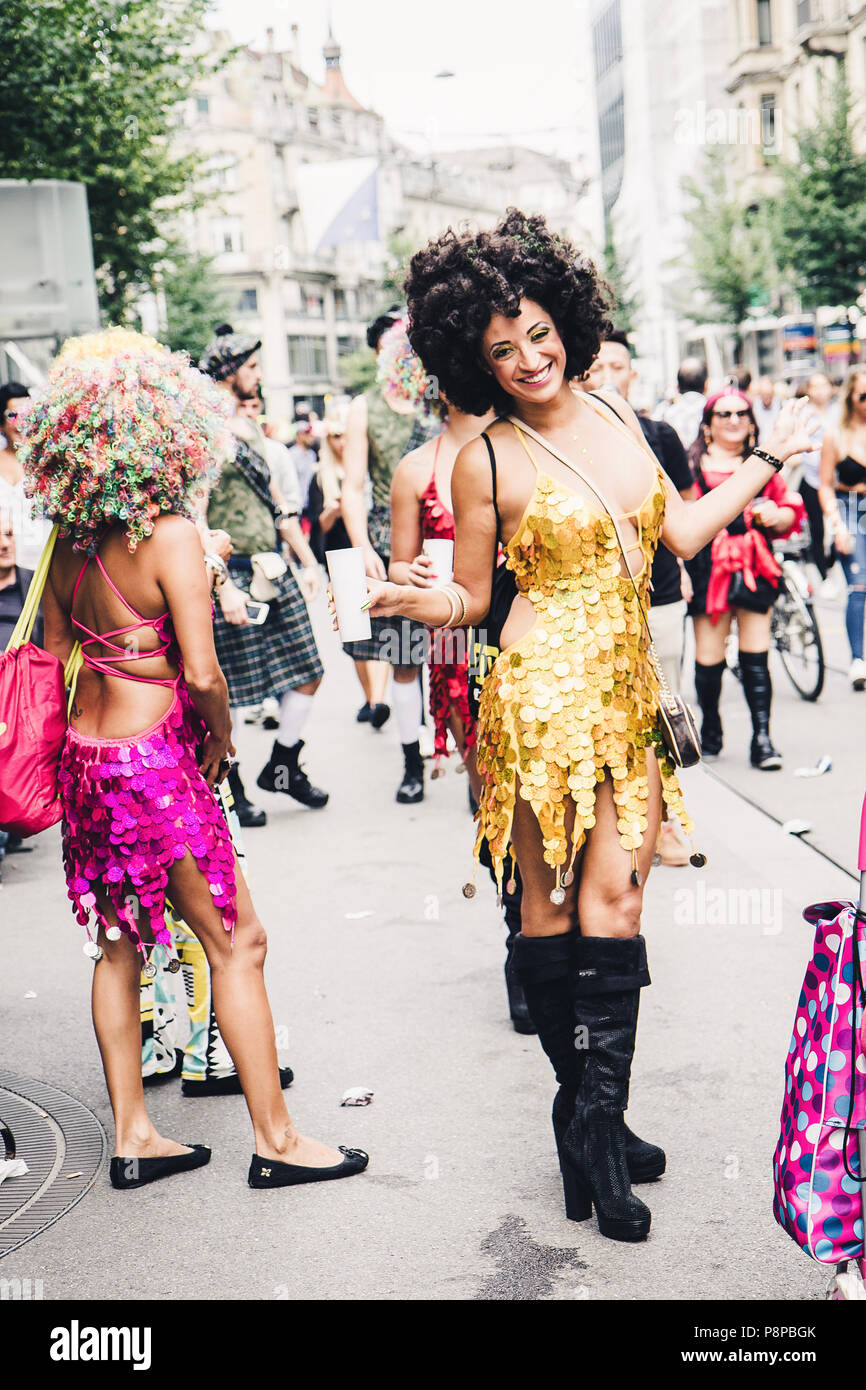 Zurich, Switzerland - August 12, 2017: People of all ages walking on one of the main streets of Zurich, Bahnhofstrasse, for the Street Parade in Zuric - Stock Image