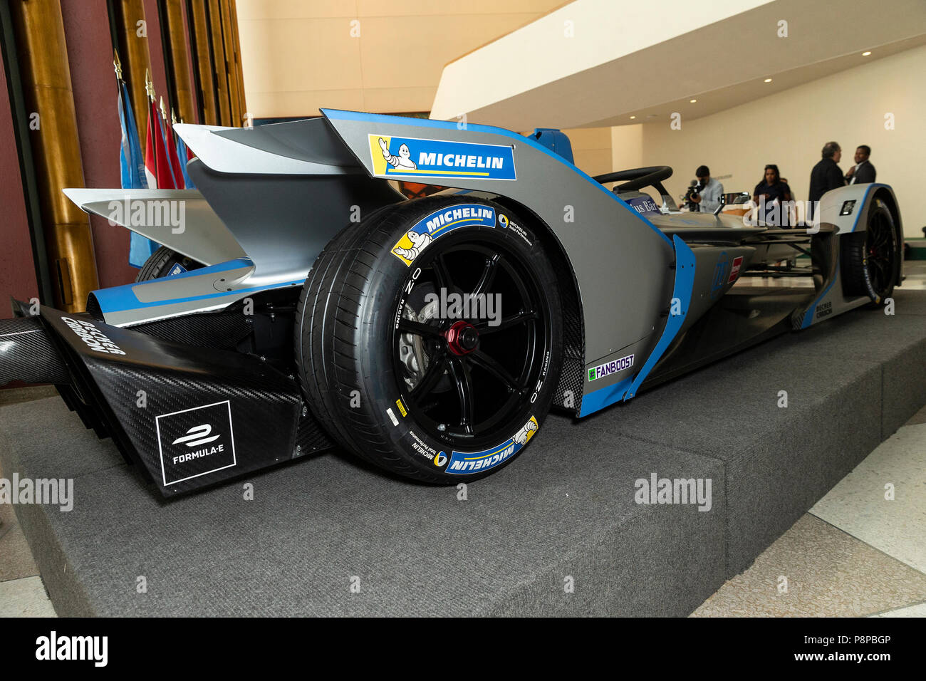 new york, united states. 12th july, 2018. formula-e race car on