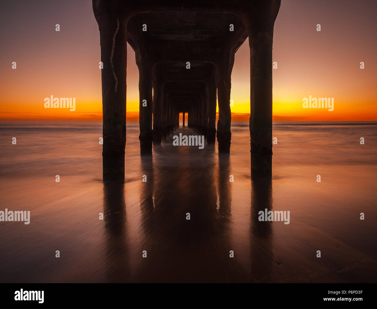 Manhattan Beach Pier at Sunset - Stock Image