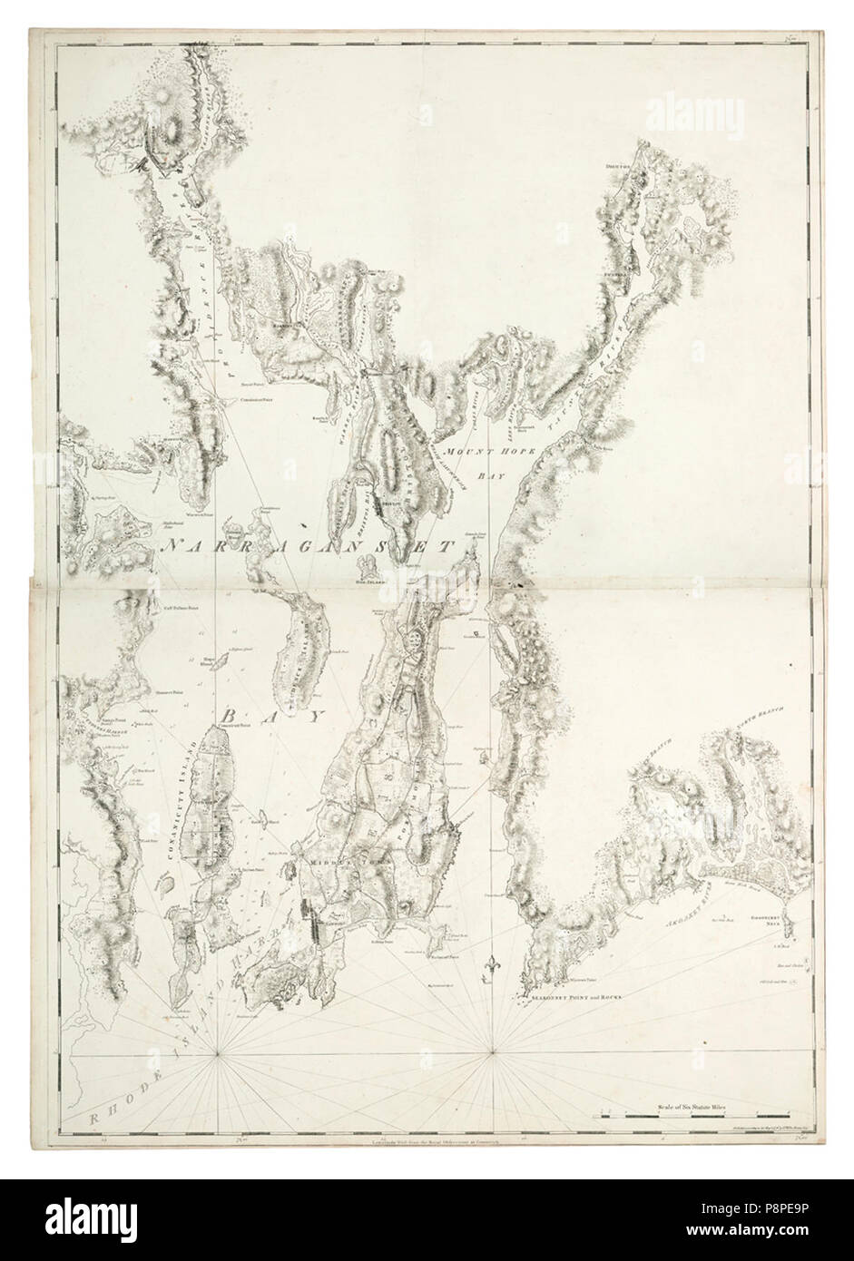 A chart of the harbour of Rhode Island and Narraganset Bay surveyed in pursuance of directions from the Lords of Trade to His Majesty's Surveyor General for the Northern District of North America . - Stock Image