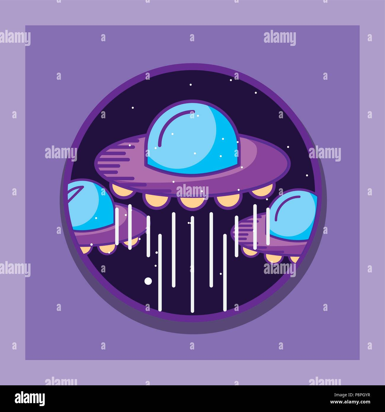 space galaxy cosmic card ufos explore planets vector illustration - Stock Image