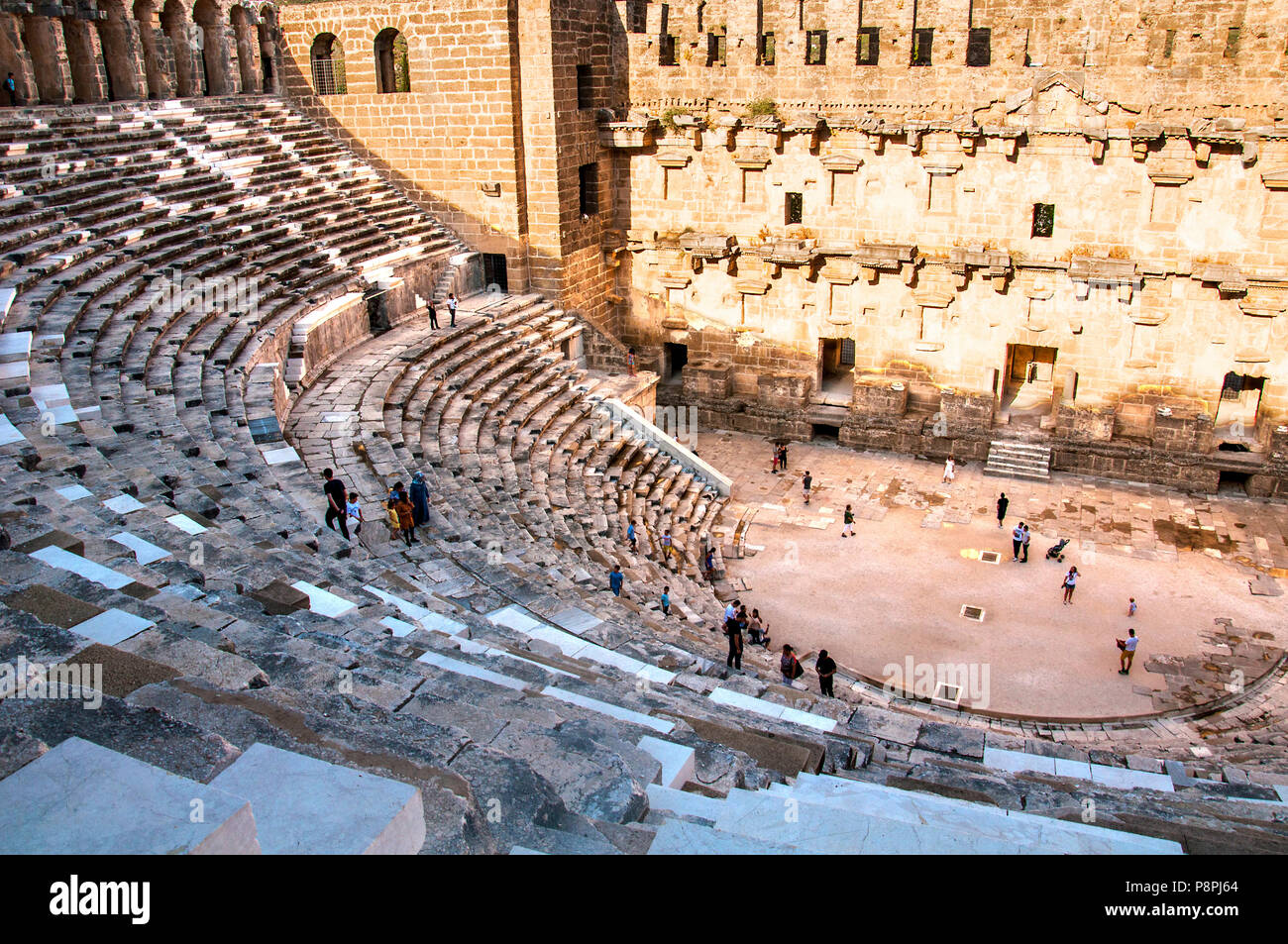 Antalya, TURKEY - June 16, 2018: Located in Antalya, Turkey. Aspendos theater is being visited by tourists - Stock Image