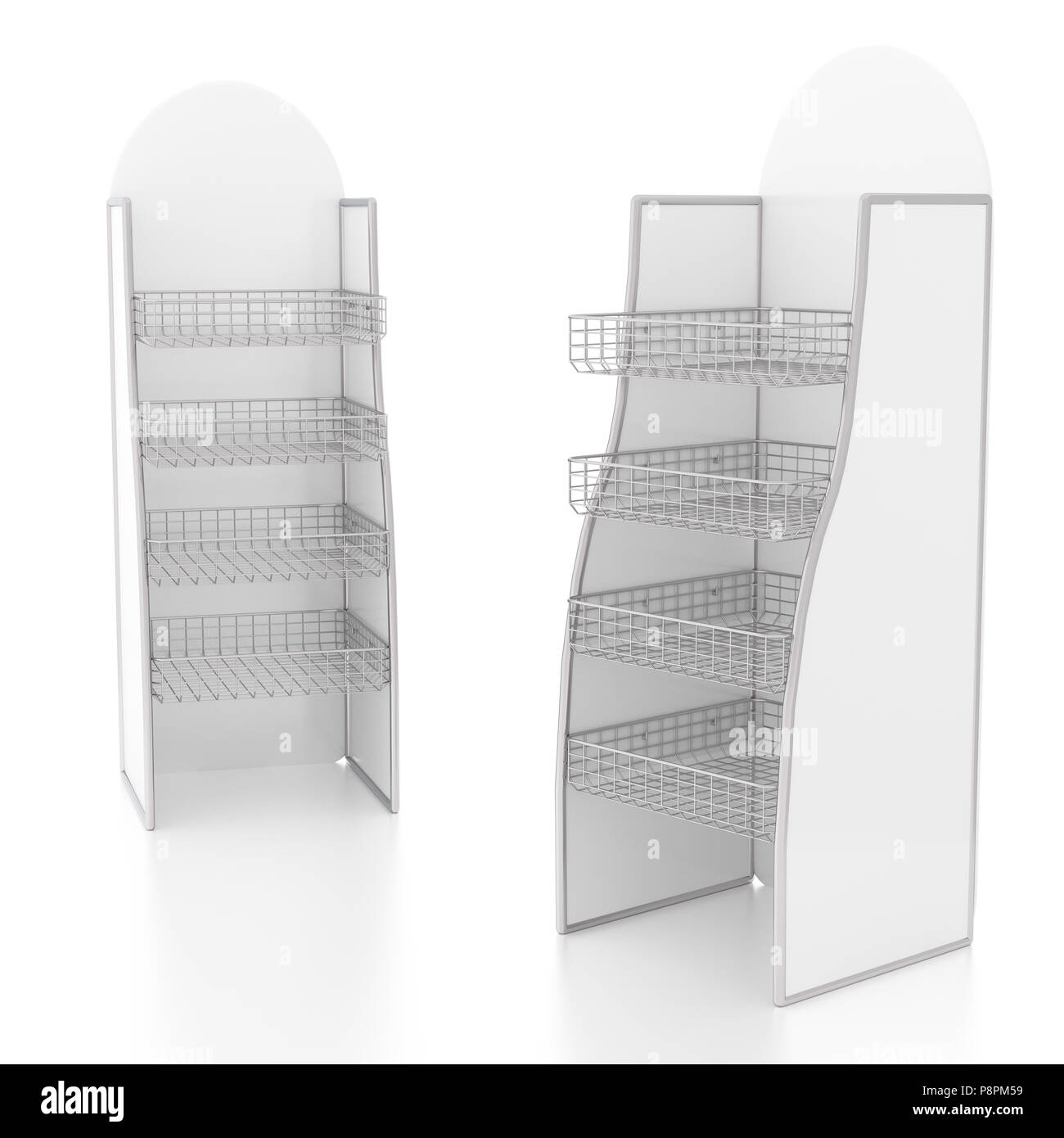 Empty display stand with wire shelves. Isolated on white background ...