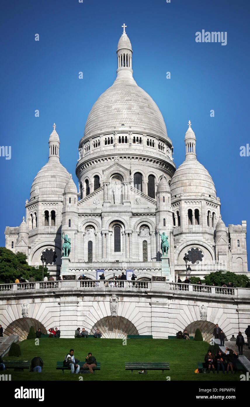 Basilica of the Sacred Heart of Jesus of Paris located in montmartre, paris - Stock Image