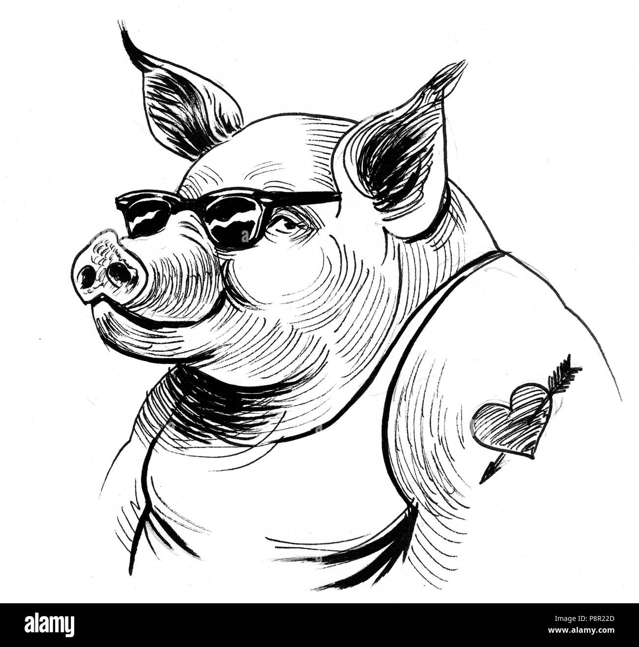 Cool pig in sunglasses and tattoo ink black and white illustration