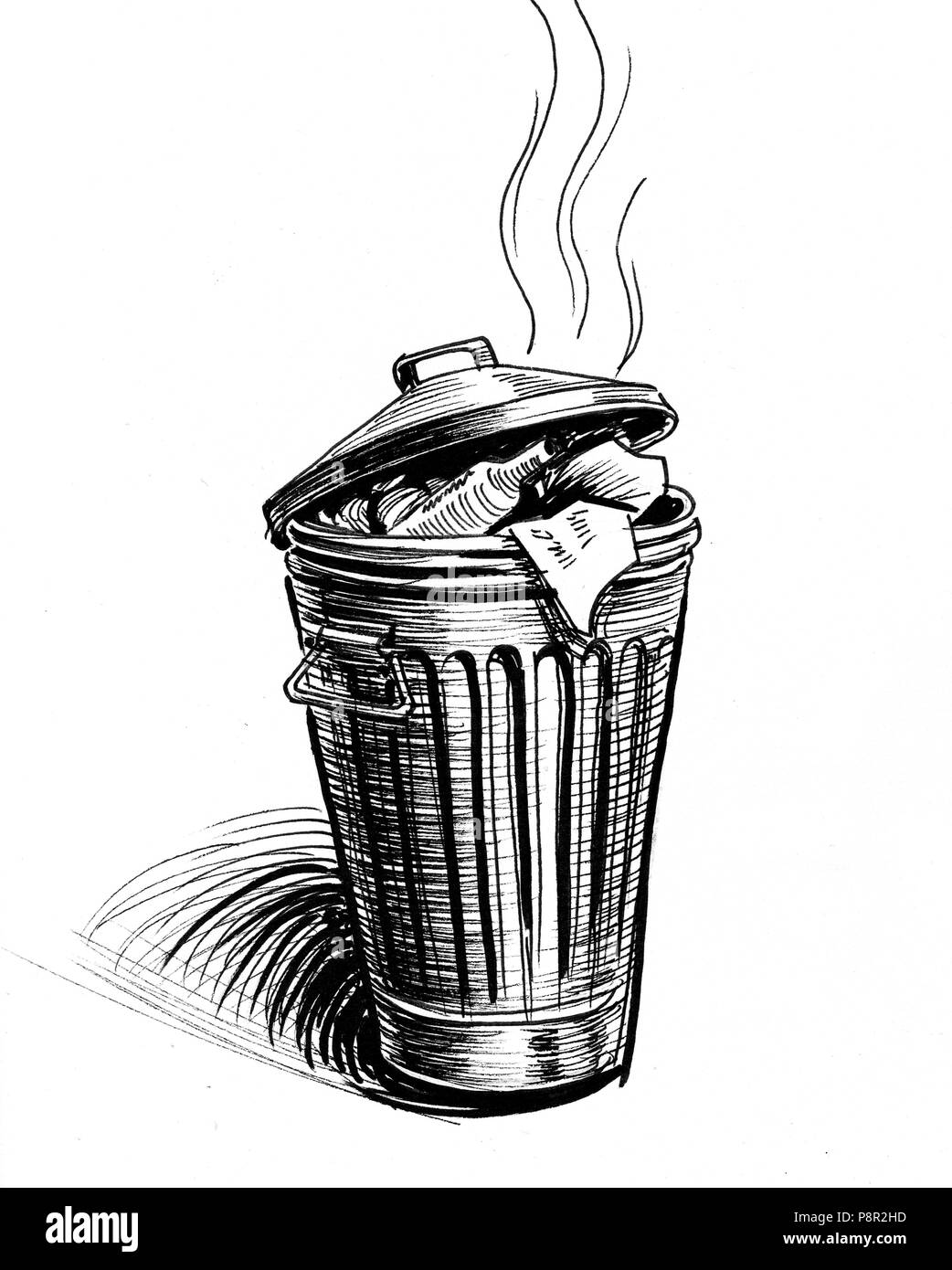 Stinky trash can. Ink black and white illustration - Stock Image